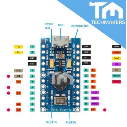 Arduino Pro Micro ATmega32U4 5V 16MHz solderless