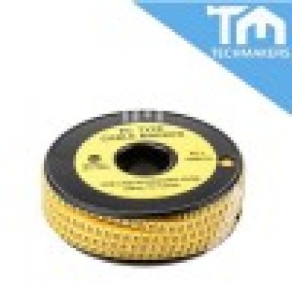 EC Type-1 Cable Markers, Yellow, Number 1, 3.0 mm