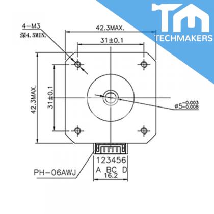 17HS4401 / 17HS4401S NEMA Bipolar Stepper Motor Black / Server