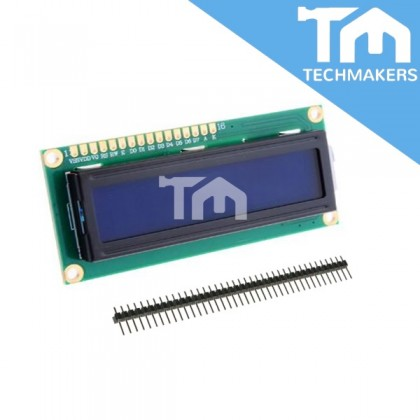 16x2 LCD Display Module 1602 Blue with header solderless