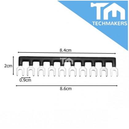 TB15 10 Position Fork Type Terminal Strip Jumper Connector Black