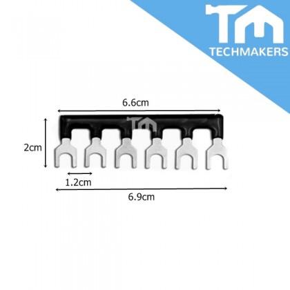 TB25 6 Position Fork Type Terminal Strip Jumper Connector Black
