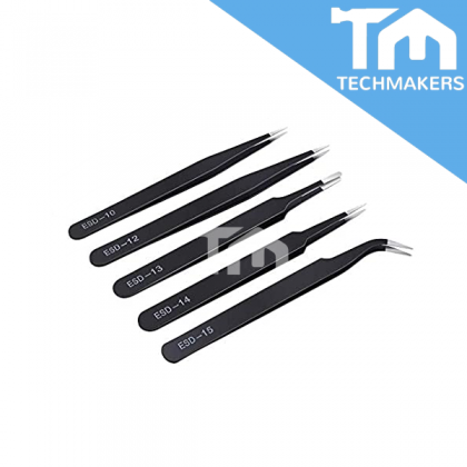 Anti Static / ESD Safe, Stainless Steel Tweezer with Special Durable Tip Electronic Forceps Forcep Kit PCB Repair