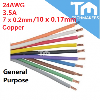 Wire 1 to 100 Meter 7/0.2mm 24AWG 3.5A 100% Copper Multi-Strand Stranded Hook Hookup Jumper  PVC Cable