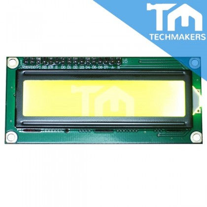 16x2 LCD Display Module 1602 Yellow with header solderless