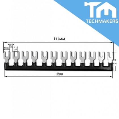 12 Position Fork Type Terminal Strip Jumper Connector Black (141mm)