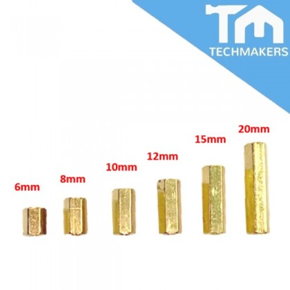 M3 Female to Female Brass Screw Thread PCB Stand-off Spacer  (Nuts & Nuts)