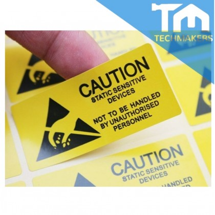 """4 Pcs Caution Sticker Adhesive Label for ESD Anti-Static Sensitive Device Electronic Shielding Anti Static Package Pack Type#1: 2.5x5.5cm (1""""x2.2"""")"""